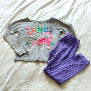 Carter's Size 6 Pajama Set Dinosaurs Grey & Purple
